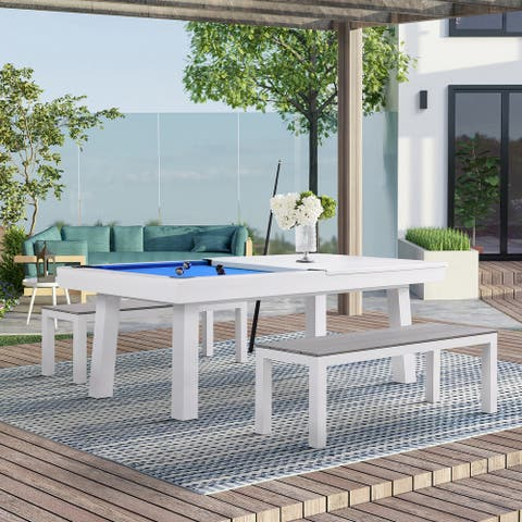 Zale 7 ft. Indoor/Outdoor Pool Table Dining Set with Accessories