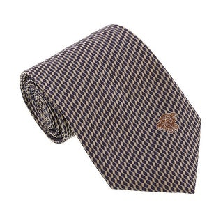 Versace Silver/Navy Blue Woven Squiggle Tie