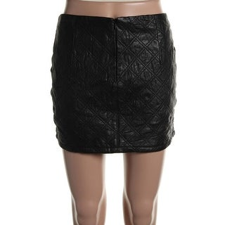 Zara Basic Womens Leather Quilted Mini Skirt - L