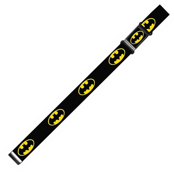Batman Full Color Black Yellow Batman Shield Black Yellow Webbing Magnetic Web Belt - S
