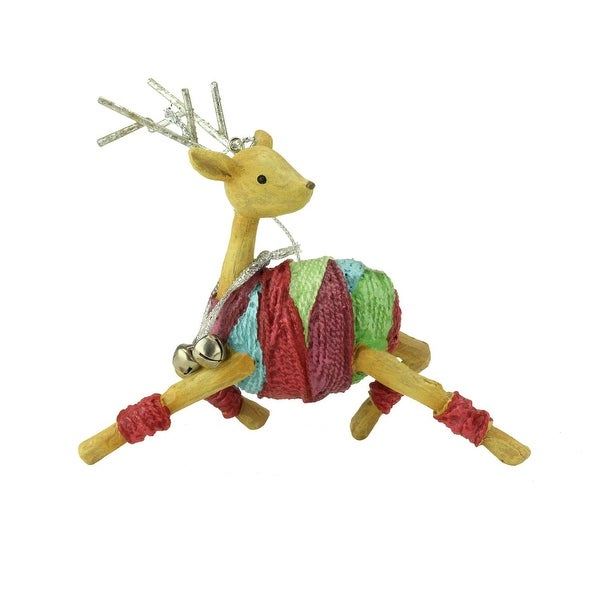 """4.25"""" Colorful Striped Prancing Reindeer with Bells Christmas Ornament - brown"""