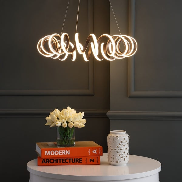 """Cursive 24"""" Adjustable Spiral Integrated LED Metal Chandelier Ceiling Light, Coffee by JONATHAN Y. Opens flyout."""
