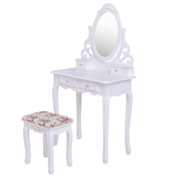 Mirrored Wood Vanity Table Stool Set w/ 4 Drawers & Rose Cushion