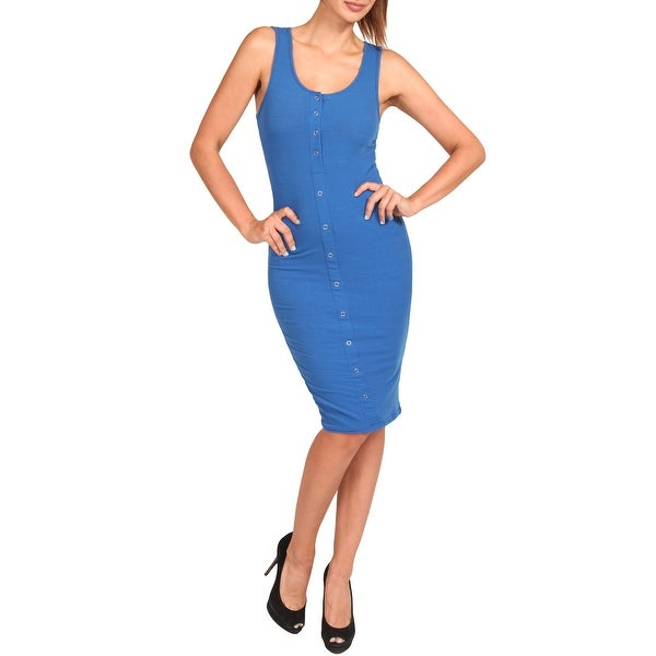 b1fe1cb3d2685 Shop NE PEOPLE Women's Sexy Fitted Sleeveless Ribbed Snap Button ...