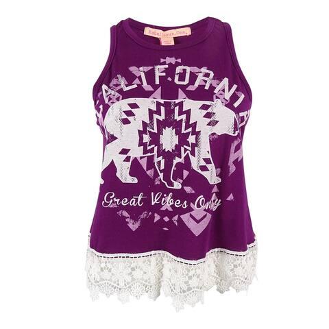 Rebellious One Juniors' California Print Crochet Trim Top - Dark Purple/Ivory