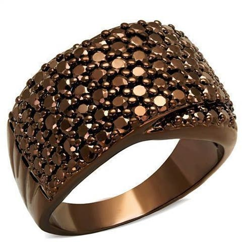 AOOLIVE Coffee light Brass Ring with AAA Grade CZ in Light Coffee