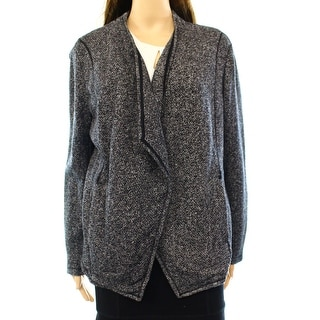 Style & Co. NEW Black Women's XL Draped Open Front Cardigan Sweater