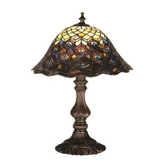 16.5 Inch H Tiffany Peacock Feather Accent Lamp
