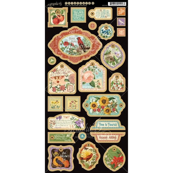 "Time To Flourish Chipboard Die-Cuts 6""X12"" Sheet-Decorative"
