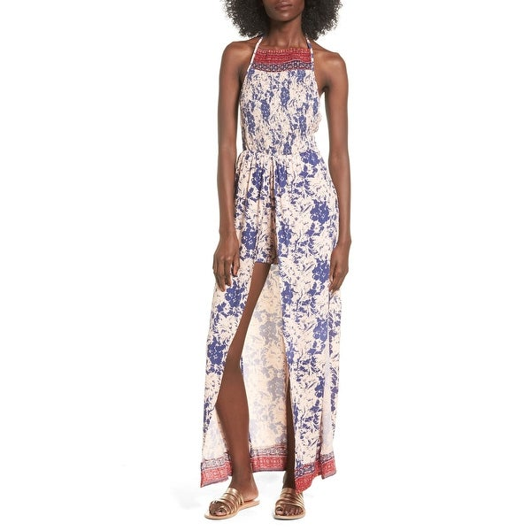 40c06a693e5d Shop Angie Womens Large Floral Smocked Halter Maxi Romper - Free Shipping  On Orders Over  45 - Overstock - 22315165