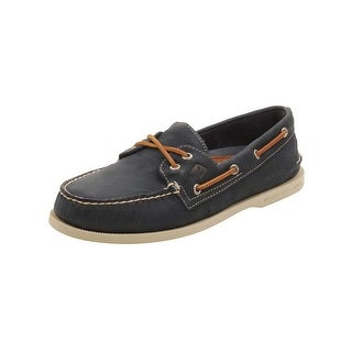 Sperry Mens A/O 2-Eye Cross Lace Boat Shoes in Navy