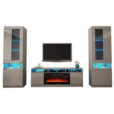 Reno 05 Electric Fireplace Modern Wall Unit Entertainment Center