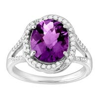 2 7/8 ct Natural Amethyst & 1/4 ct Diamond Cocktail Ring in Sterling Silver