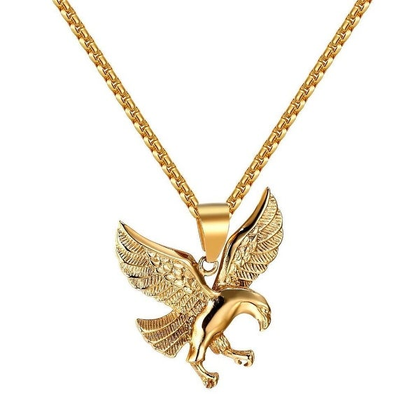 American Eagle Pendant Bird Stainless Steel Charm Gold Tone Box Chain 2mm Custom