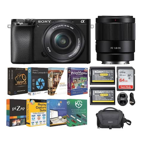 Sony Alpha a6100 APS-C Mirrorless Camera w/ 16-50mm & 35mm Lens Bundle
