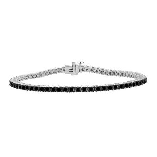 Prism Jewel 2.68Ct Round Black/I3-PK Diamond Box Clasp 7.5 Inches Teniis Bacelet Crafted in 14k White Gold - Black