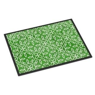 Carolines Treasures BB7556JMAT Watercolor Geometric Cirlce on Green Indoor or Outdoor Mat 24 x 36 in.