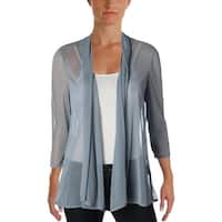R&M Richards Womens Topper Jacket Chiffon 3/4 Sleeves Gray 6