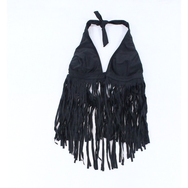 76dab40e0bd Shop Designer Brand Black Womens Size XL Fringed Tankini Top Swimwear - On  Sale - Free Shipping On Orders Over $45 - Overstock - 28037677