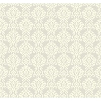 York Wallcoverings ER8169 Waverly Cottage Luminary Wallpaper - silver satin/rich cream - N/A