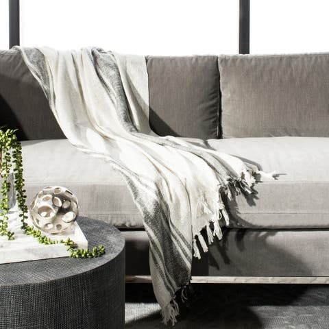 Safavieh Alita Metallic White/Grey Throw Blanket