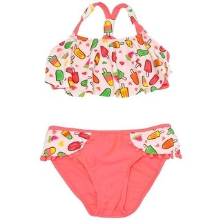 Real Love Little Girls White Coral Icecream Print Ruffle 2 Pc Swimsuit