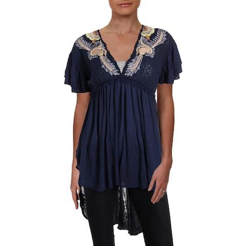 Free People Womens Fiesta Nueva Tunic Top Embroidered Ruffle Sleeves