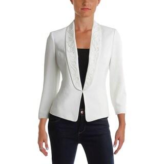 Kasper Womens One-Button Blazer Crepe Embroidered - 4