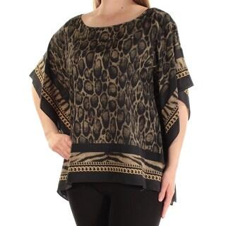 Womens Green Animal Print Dolman Sleeve Scoop Neck Top Size M