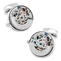 Silver Stainless Steel Kinetic Watch Movement Cufflinks