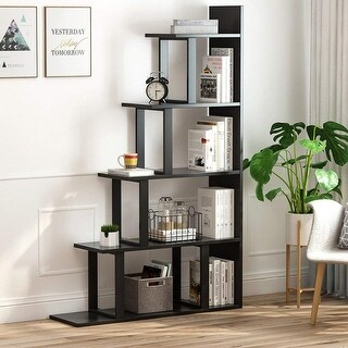 5-Shelf Ladder Corner Bookshelf, Modern Simplism Style 63 '' H x 12 '' W x 40 ''L, Made of Steel and Wood