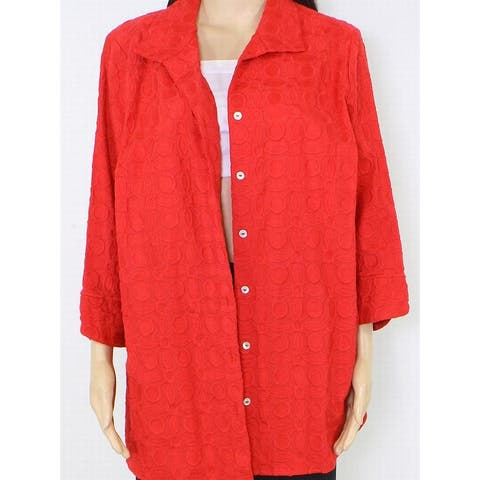 Fox Croft Womens Jacket Bright Red Size 14W Plus Button Embroidered