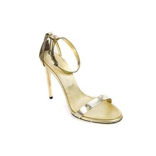 Roberto Cavalli Womens Gold Sandal with Stiletto Metal Heel