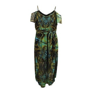 City Chic Women's Plus Size Cold-Shoulder Global-Print Maxi Dress (XL, Olive) - Olive - 22W