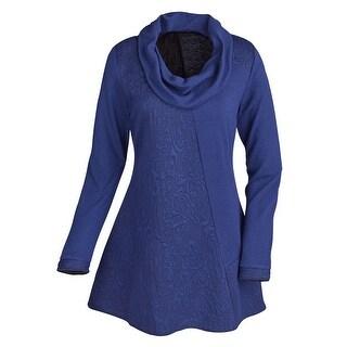Women's Tunic Top - Textured Cowl Neck Long Sleeve Shirt