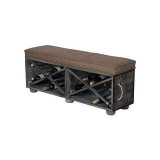 GuildMaster 652507 Wine Crate 48 Inch Wide Mahogany Rectangular Ottoman - gray - N/A