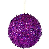 4.75 in. Fancy Purple Holographic Glitter Drenched Christmas Ball