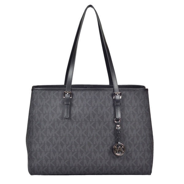 bb34785d15c2 Shop Michael Kors Large Jet Set Signature Travel East West Tote Handbag in  Black - Free Shipping Today - Overstock.com - 22702675