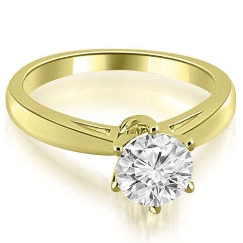 0.50 cttw. 14K Yellow Gold Solitaire six Prong Diamond Engagement Ring