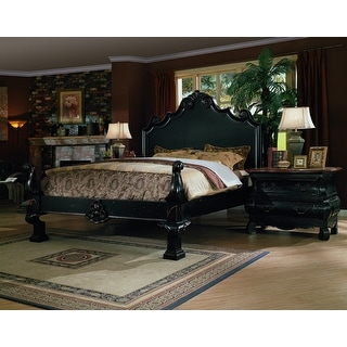 Liege Eastern King Size Panel Bed in Black Finish