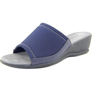 Trotters Lucca Women WW Open Toe Canvas Blue Slides Sandal