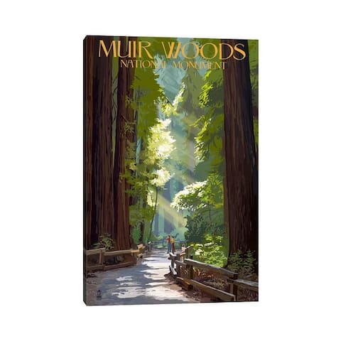 """iCanvas """"Muir Woods National Monument (Old-Growth Redwoods)"""" by Lantern Press Canvas Print"""