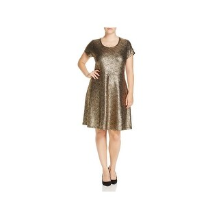MICHAEL Michael Kors Womens Plus Flounce Dress Short Sleeves Knee-Length