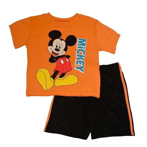 Disney Little Boys Orange Mickey Mouse Printed T-Shirt 2 Pc Shorts Set