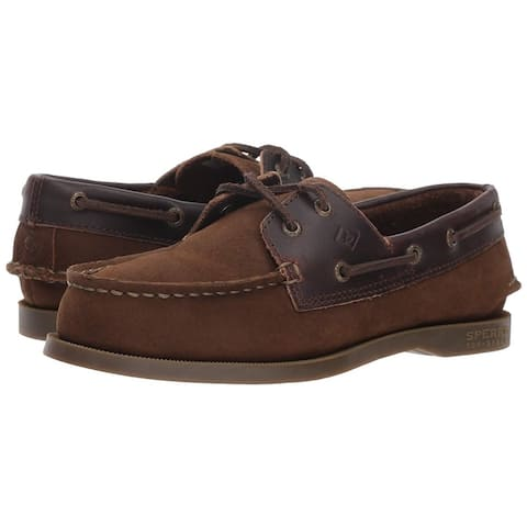 Kids Sperry Boys Authentic Leather Slip On Loafers