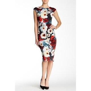 Maggy London Cap Sleeve Floral Scuba Midi Dress 14 Black Red Stretch Sheath