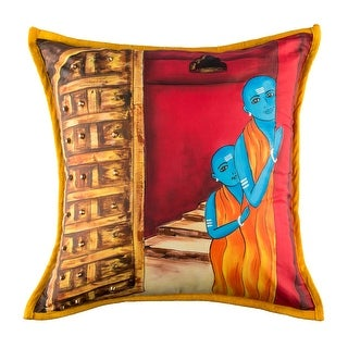 100% Handmade Imported Peeking Monks Pillow Cover, Red, Orange, Blue and Gold, Yellow Trim