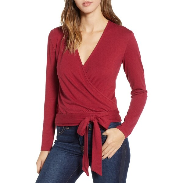 19b55a9345 Shop 1901 NORDSTROM Red Berry Women's Size Large L Solid Wrap Cropped Top -  Free Shipping On Orders Over $45 - Overstock - 28094486