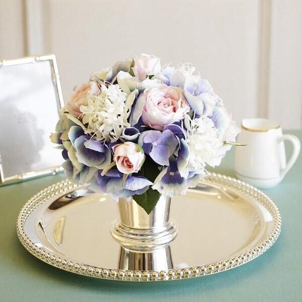 Mademoiselle Blue Pink White Hydrangeas Pink Rose Floral Arrangement - Purple