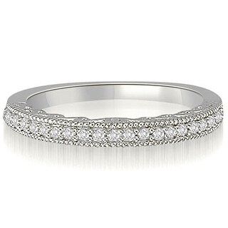 0.15 CT.TW Antique Milgrain Petite Round Diamond Wedding Band - White H-I
